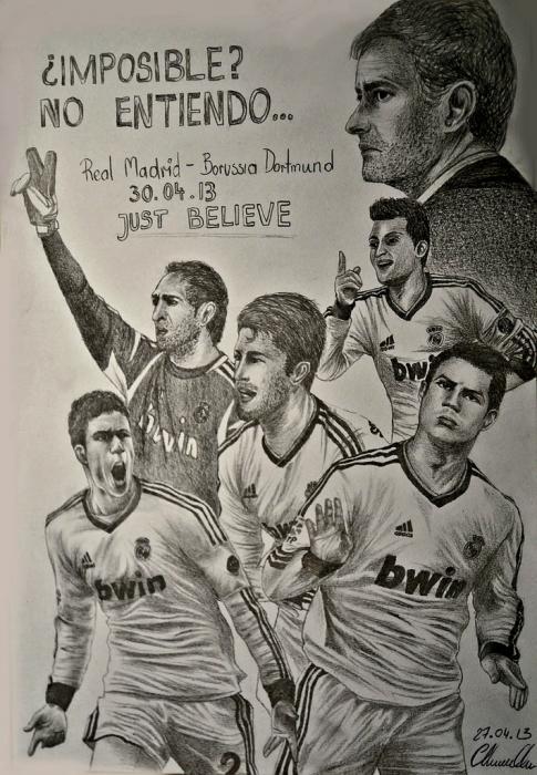 Cristiano Ronaldo, José Mourinho, Mesut Özil, Raphaël Varane, Sergio Ramos, Diego López by Beesiak